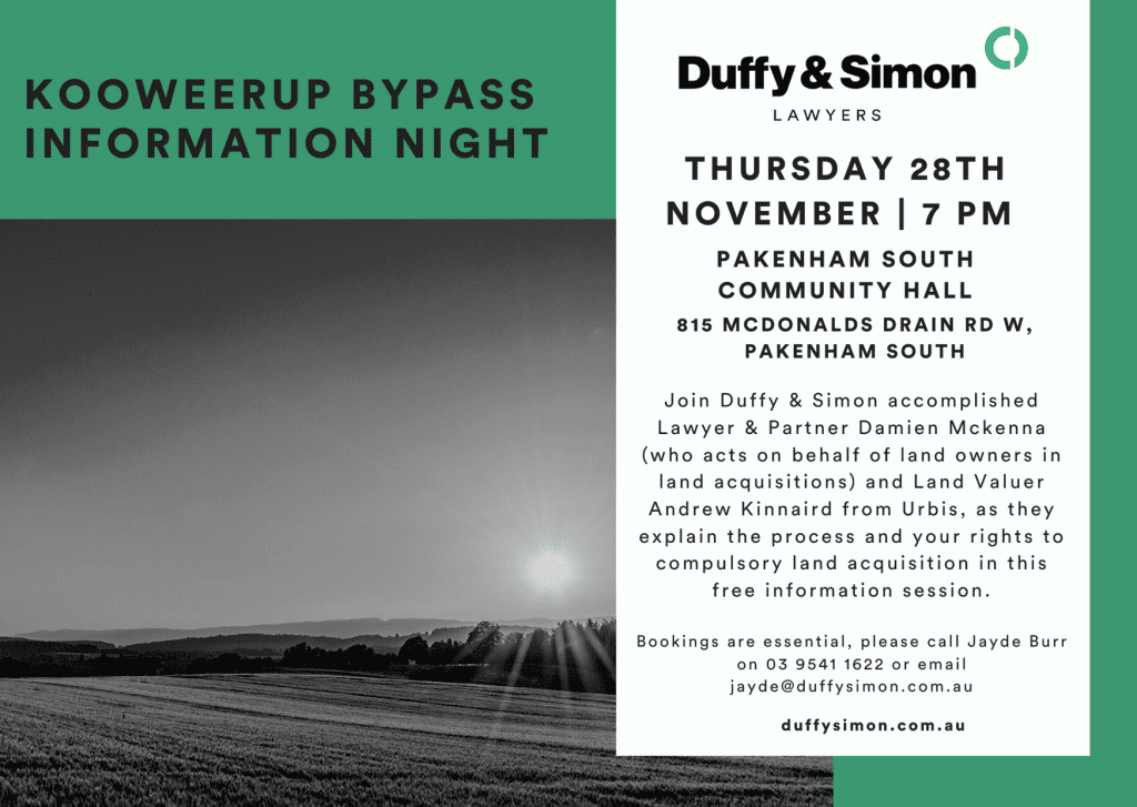 land acquisition koo wee rup bypass information night